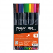 Marcador Fine Plus 04mm Com 10 Cores - Jocar Office