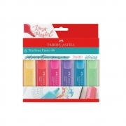 Caneta Marca Texto Pastel Textliner c/ 6 - Faber-Castell