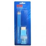 Kit Lápis Preto Com Borracha e Apontador Azul - Kaz