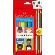 Lápis de cor Caras&Cores c/ 12 Cores + 6 Tons de Pele -  FABER-CASTELL