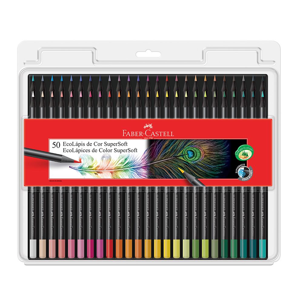 Lápis de cor FABER-CASTELL SuperSoft c/ 50 Cores