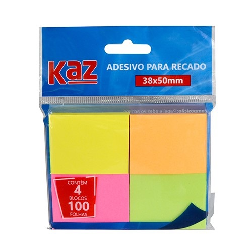 Bloco de recado auto adesivo Neon - Kaz
