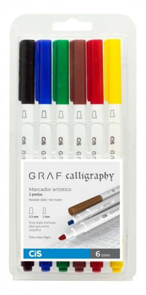 Caneta Marcador Artístico Graf Calligraphy 6 Cores - Cis