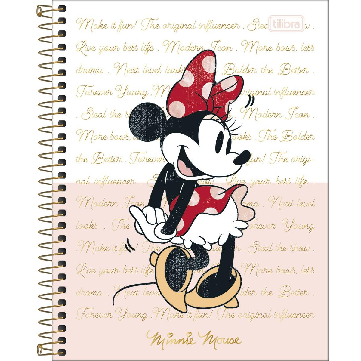 Caderno Colegial 1 Matéria Minnie - Tilibra