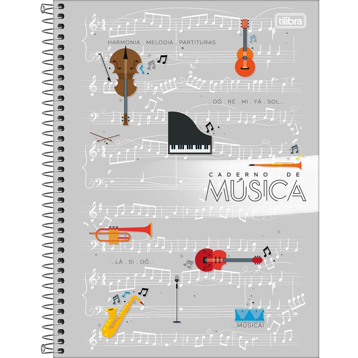Caderno De Música Partitura Universitário 80 Folhas - Tilibra