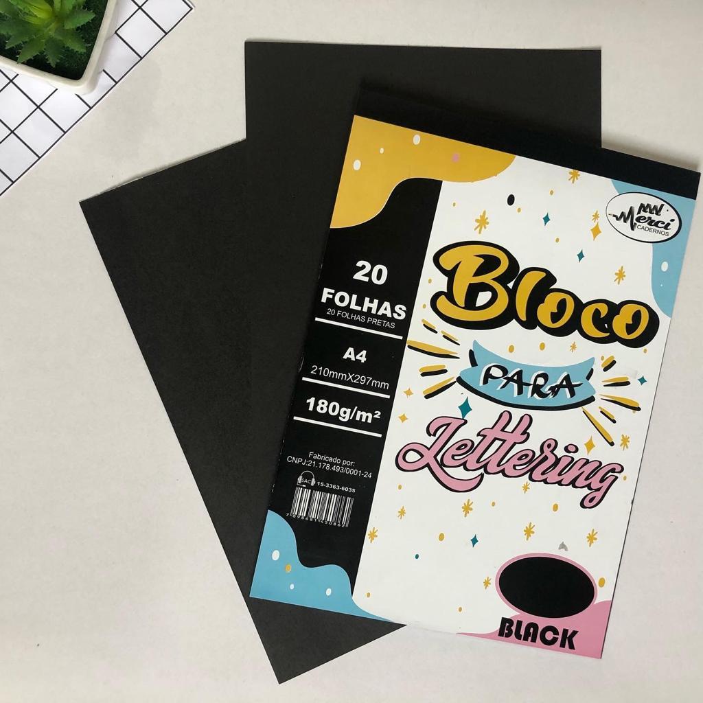 Bloco Lettering A4 Black 180g Com 20 Folhas - Merci Cadernos
