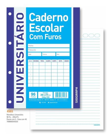 Bloco universitário p/ Fichário A4 96 Folhas