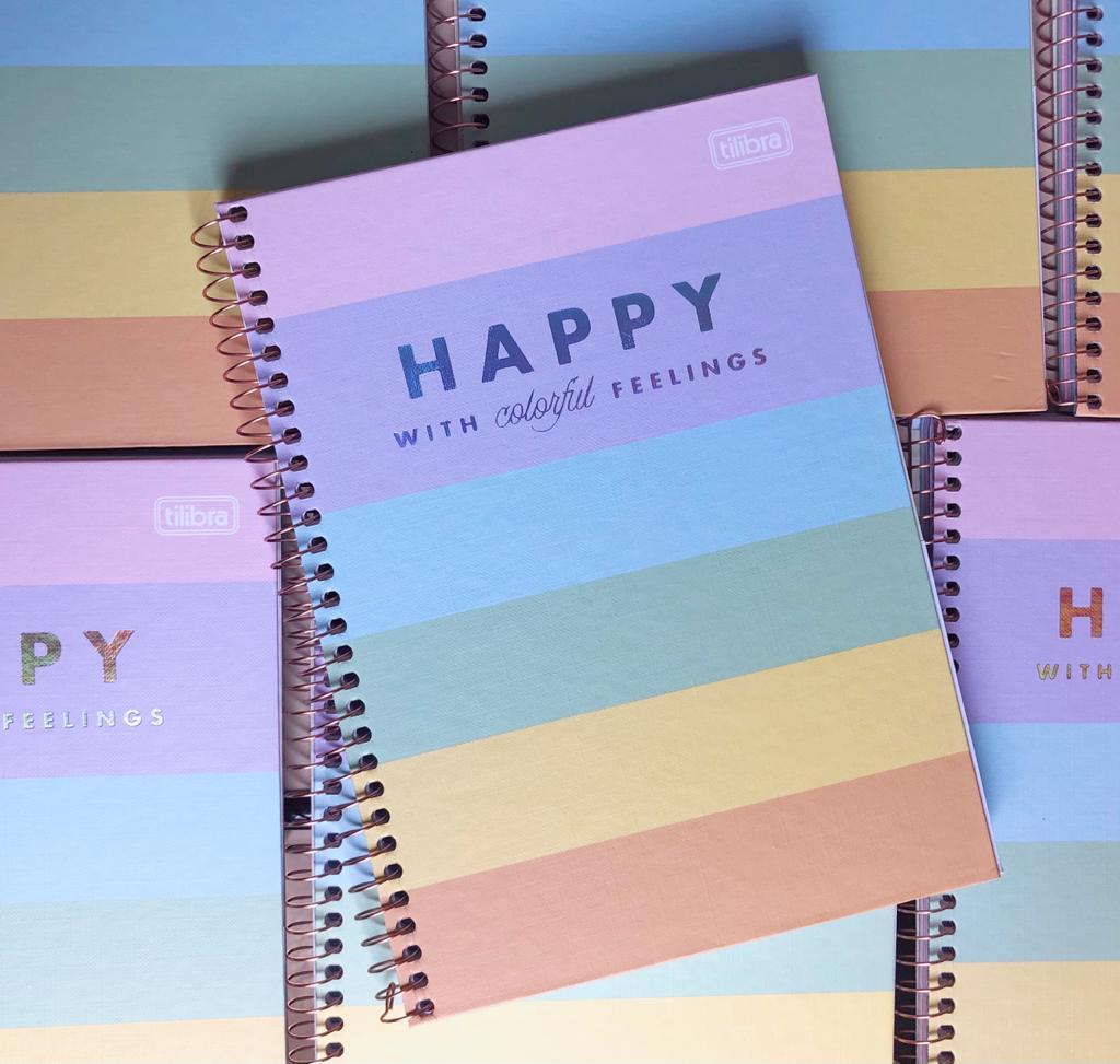 Caderno Colegial Espiral Happy Colors 1 Matéria - Tilibra