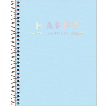 Caderno colegial happy  Azul - TILIBRA