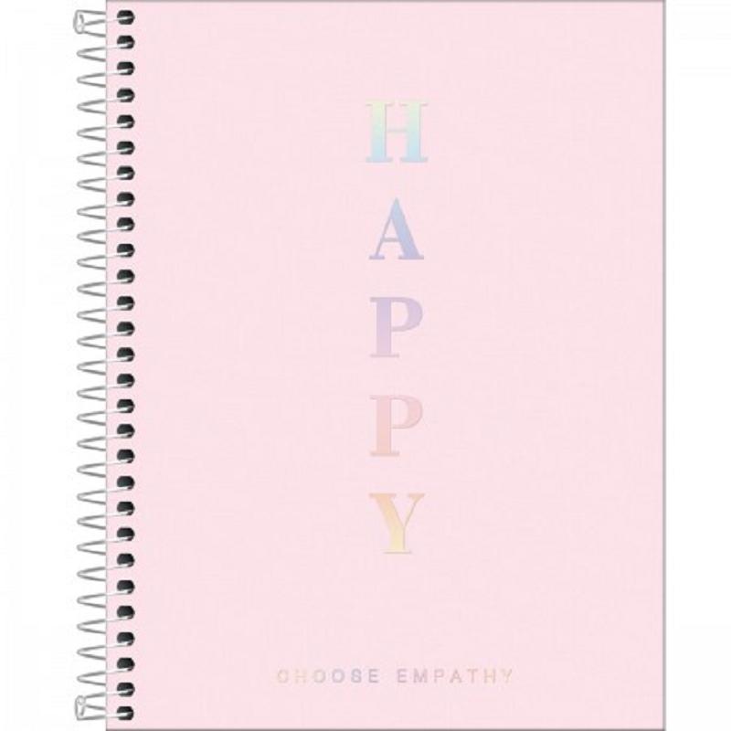 Caderno Colegial Happy Rosa 1 Matéria - Tilbra