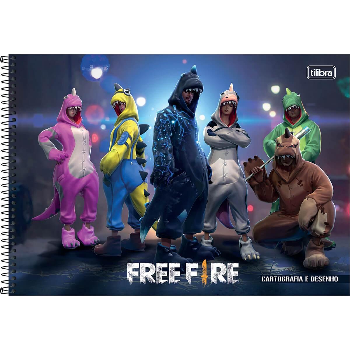 Caderno de Cartografia Desenho Free Fire - Tilibra