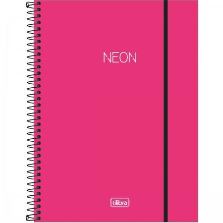 Caderno Universitário 10 Matérias Neon pink - Tilibra