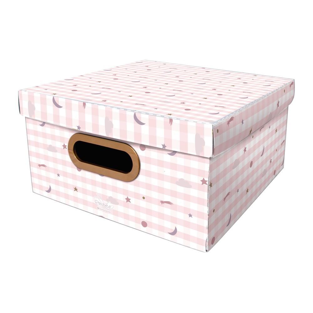Caixa Organizadora Média Pequenos Astros Rosa 29X29X15 - Dello