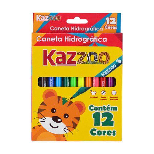 Caneta hidrográfica c/ 12 cores - KAZ