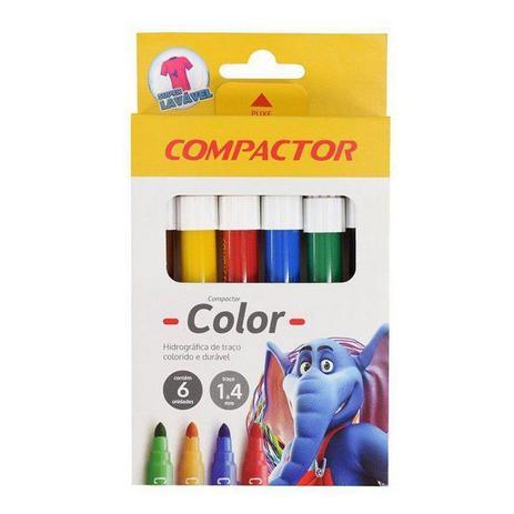 Caneta Hidrográfica Jumbo Color C/ 6 Cores - Compactor