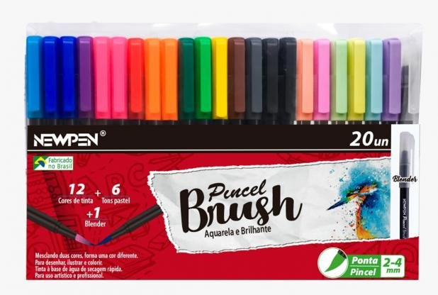 Caneta Pincel Brush Pen NEWPEN c/ 20 Cores