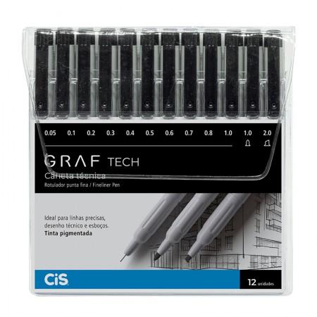 Caneta Técnica Graf Tech Fineliner pen Com 12 - Cis