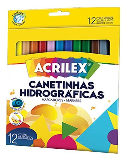 Canetinhas Hidrográficas Com 12 Cores Lavável - Acrilex