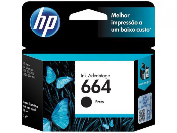 Cartucho 664 F6V29AB preto 2ML - HP
