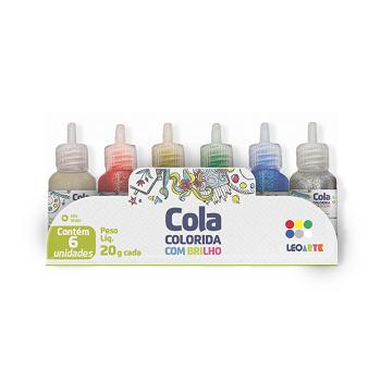 Cola com Glitter 6 cores 20g - Leoarte