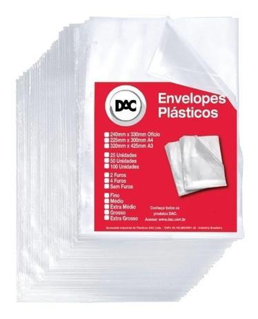 Envelope Plástico Ofício 4 Furos Grosso C/ 400 - Dac