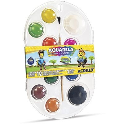 Estojo Aquarela Com 12 Cores 1 Pincel - Acrilex