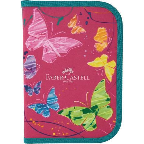 Estojo Escolar de Nylon Borboleta Rosa - Faber Castell