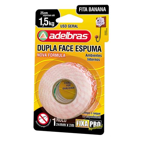 Fita Dupla Face 24x2 Espuma - Adelbras