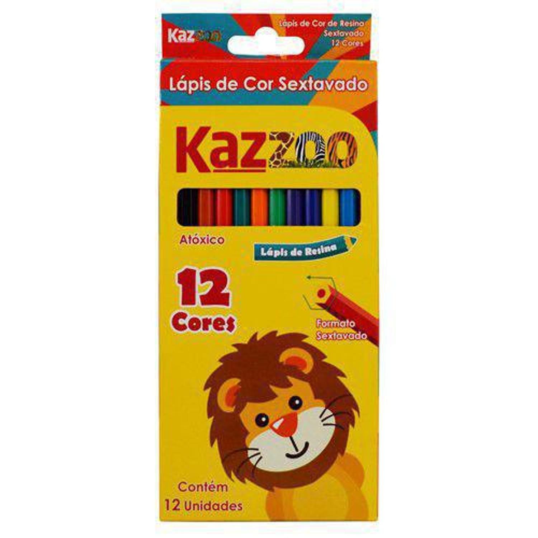 Lápis de Cor 12 Cores Sextavado - Kaz Zoo