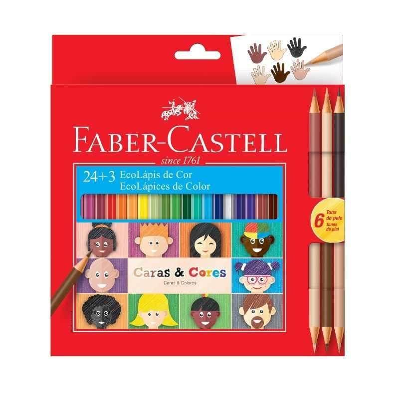 Lápis de cor Caras&Cores c/ 24 Cores + 6 Tons de Pele -  FABER-CASTELL