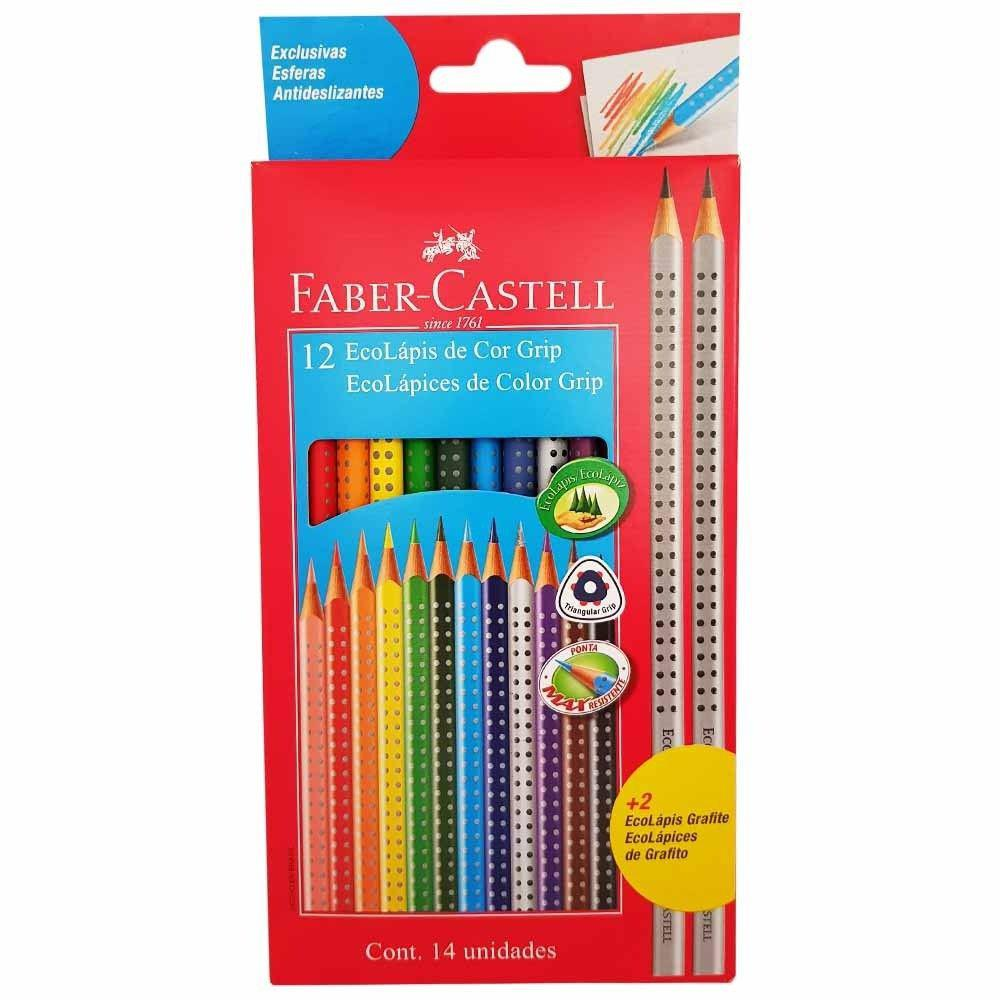 Lápis de Cor com Grip c/ 12 Cores - FABER-CASTELL