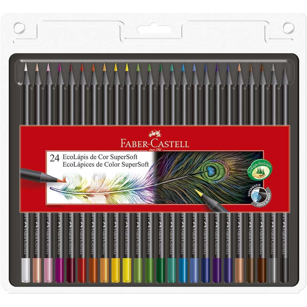 Lápis de cor FABER-CASTELL SuperSoft c/ 24 Cores