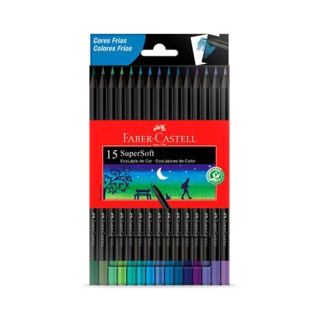 Lápis de Cor  Super soft 15 Cores Frias - Faber Castell