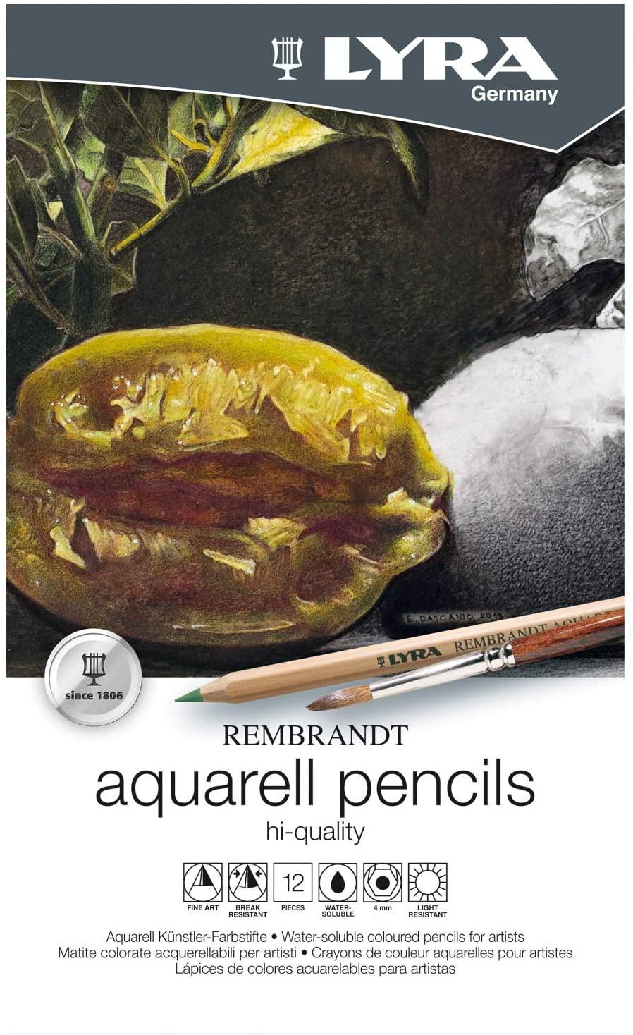 Lápis Lyra Rembrandt Aquarela Profissional 12 Cores