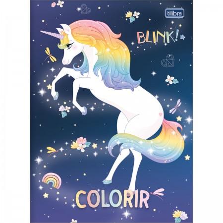 Livro Folhas Para Colorir Infantil Blink Unicórnio - Tilibra