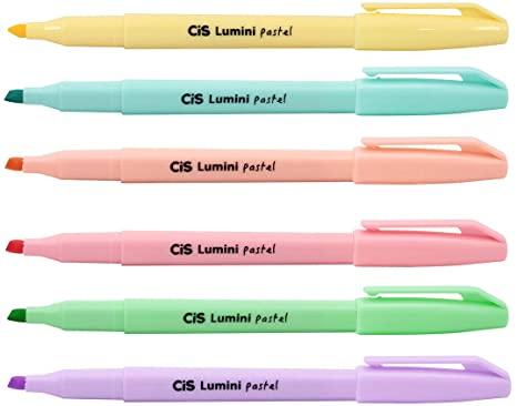 marca texto lumini pastel c/6 - CIS