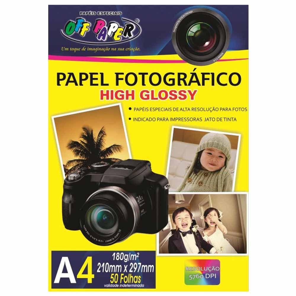 Papel Fotográfico 180g A4 High Glossy C/ 50 Folhas Off Paper