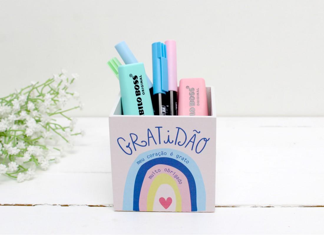 Porta lápis gratidão - papelote