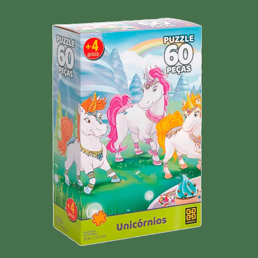 Quebra-Cabeça Puzzle Unicórnios 60 Peças - Grow