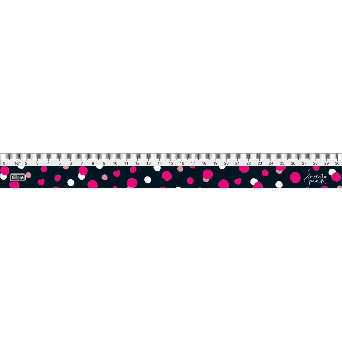 Régua Acrílica Love Pink 30cm - Tilibra