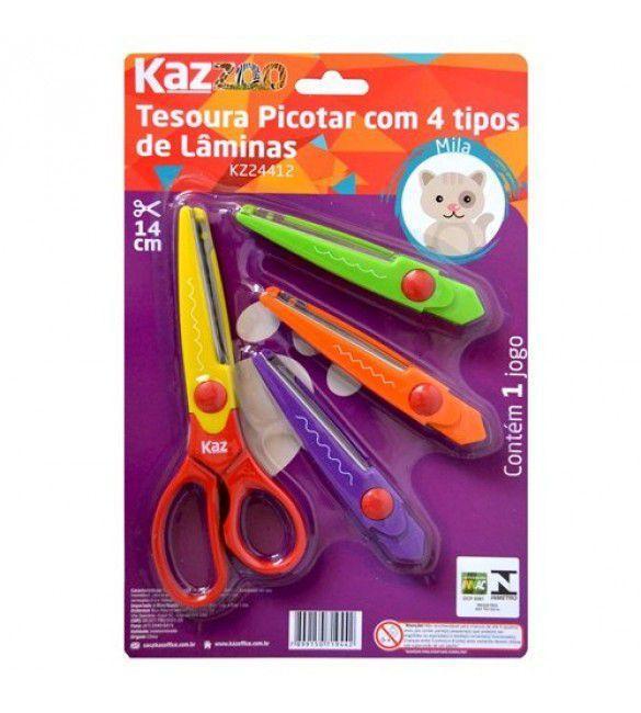 Tesoura De Picotar 4 Tipos De Laminas De Corte - Kaz