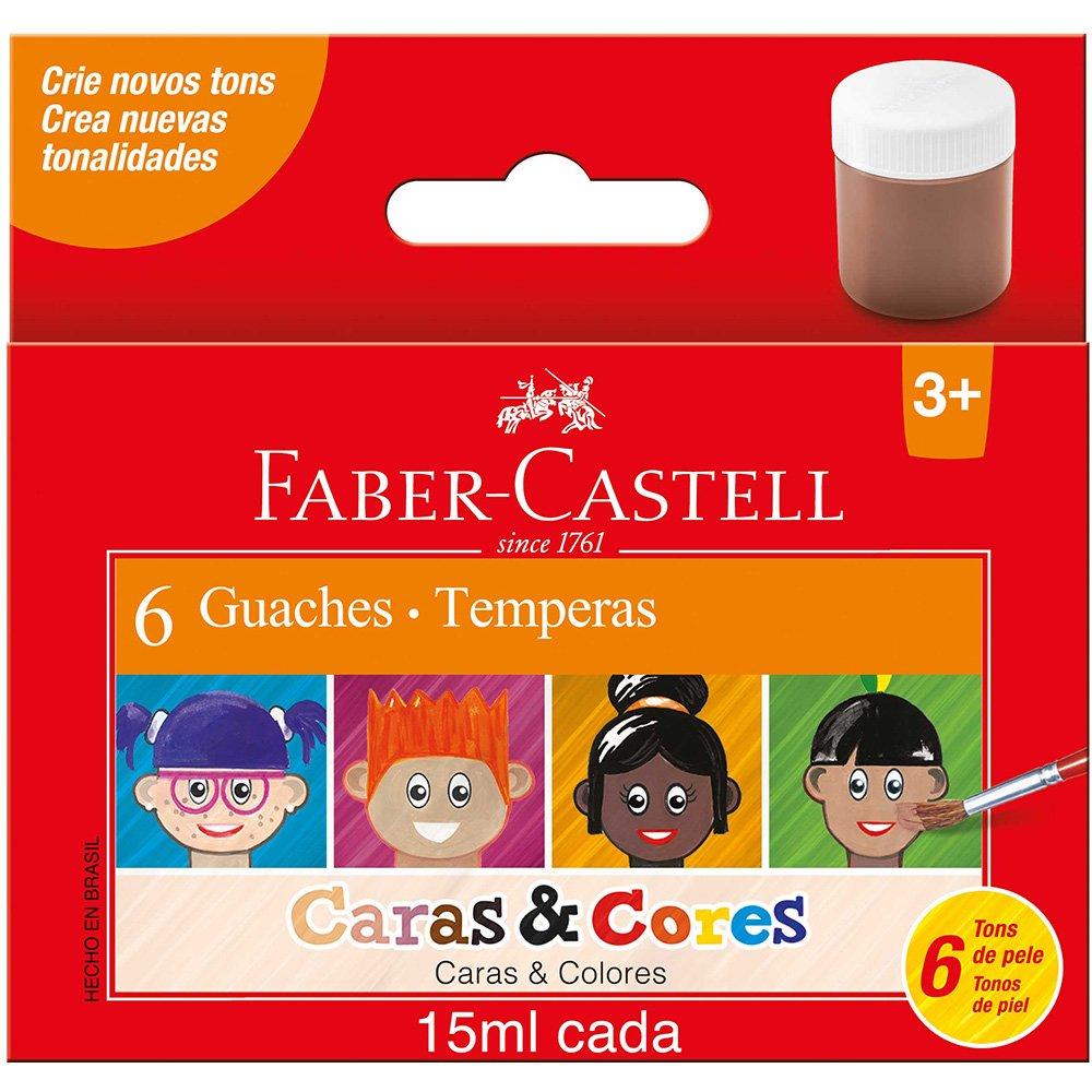 Tinta guache faber castell 6 Cores - caras e cores
