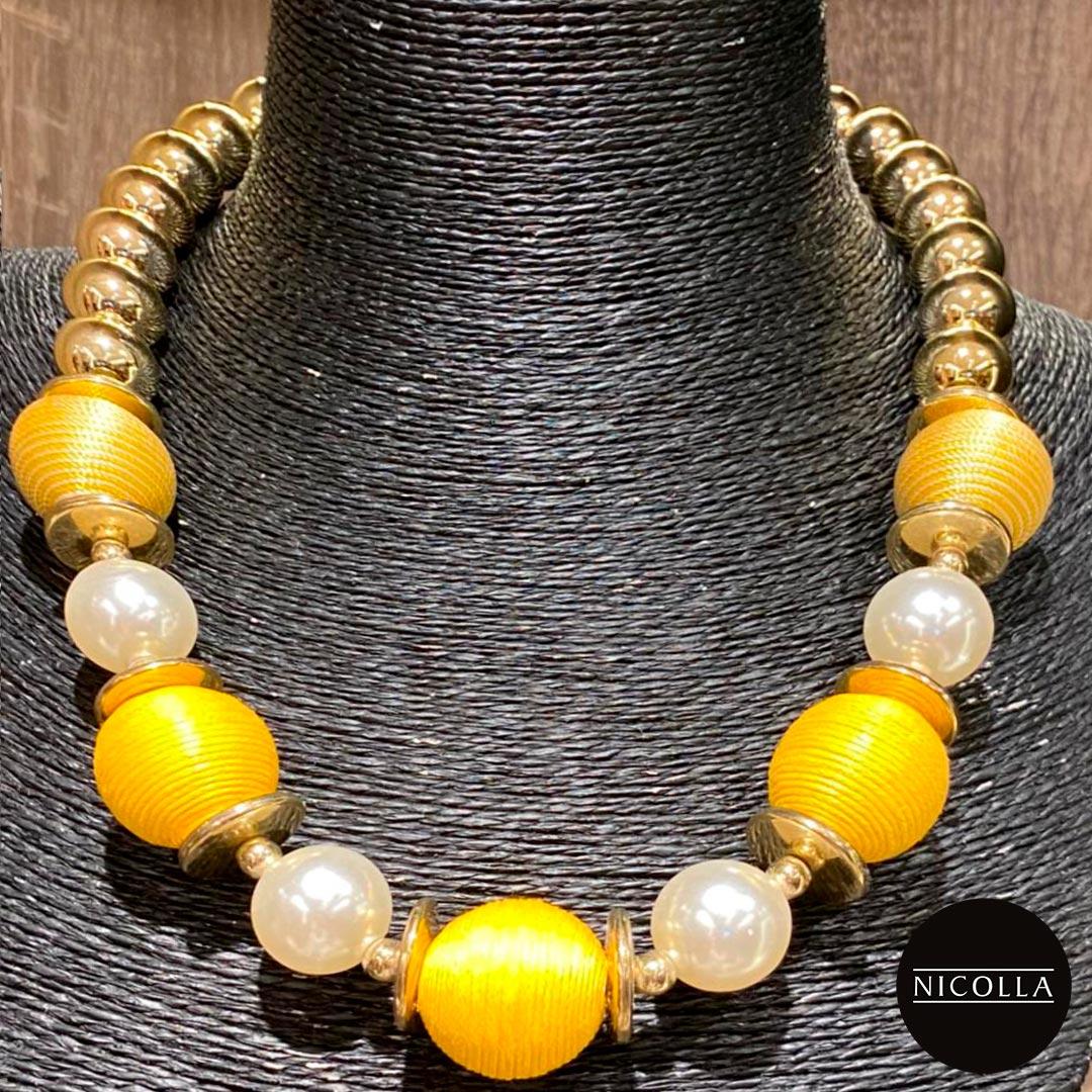 Colar Bolas Amarelas e Dourado