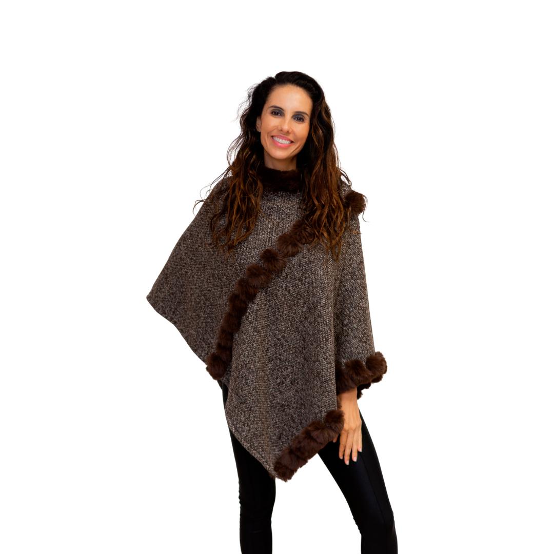 Poncho Tweed Com Pele