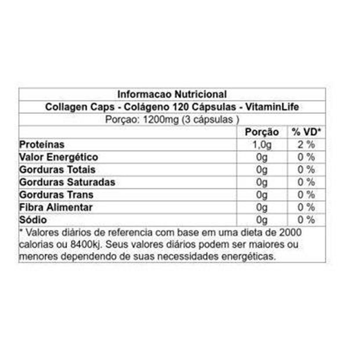 Colágeno 120 Cápsulas Collagen - Vitaminlife