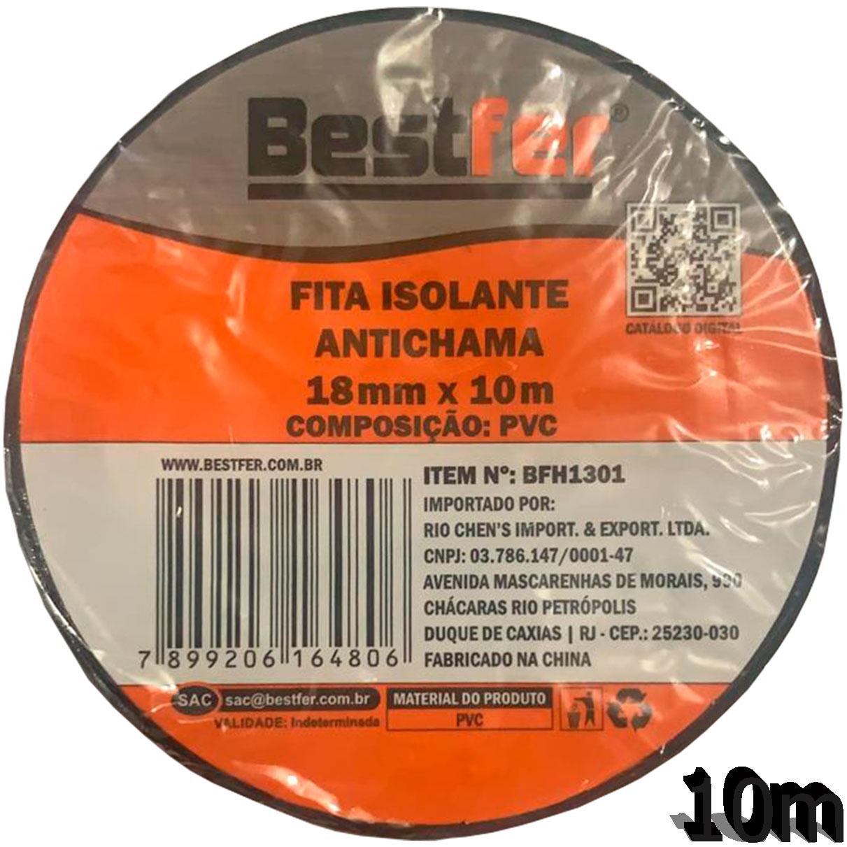 Fita Isolante Antichama 18mm x 10m PVC BFH1301 - Bestfer