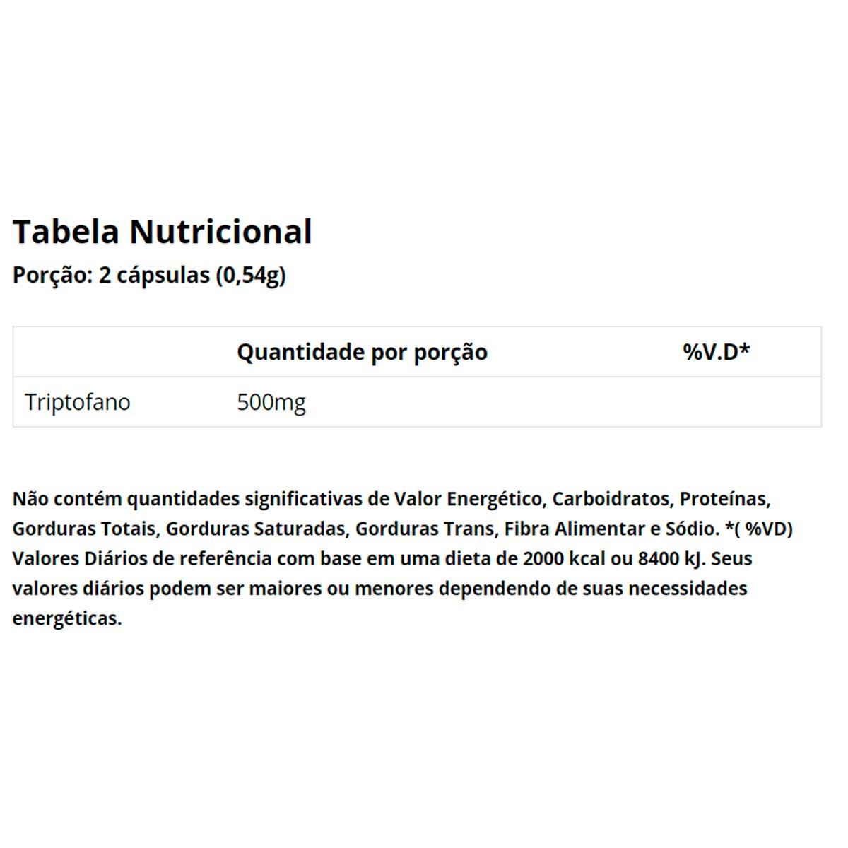 Triptofano 500mg 60 Cápsulas - Vitaminlife