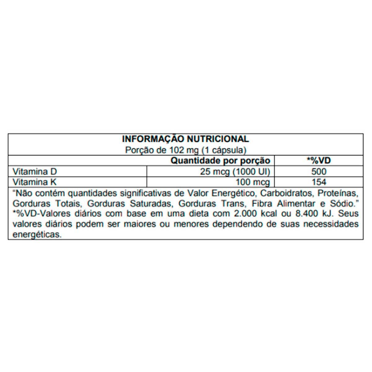 Vitamina k2 + D3 60 Cápsulas - Atlhetica Nutrition