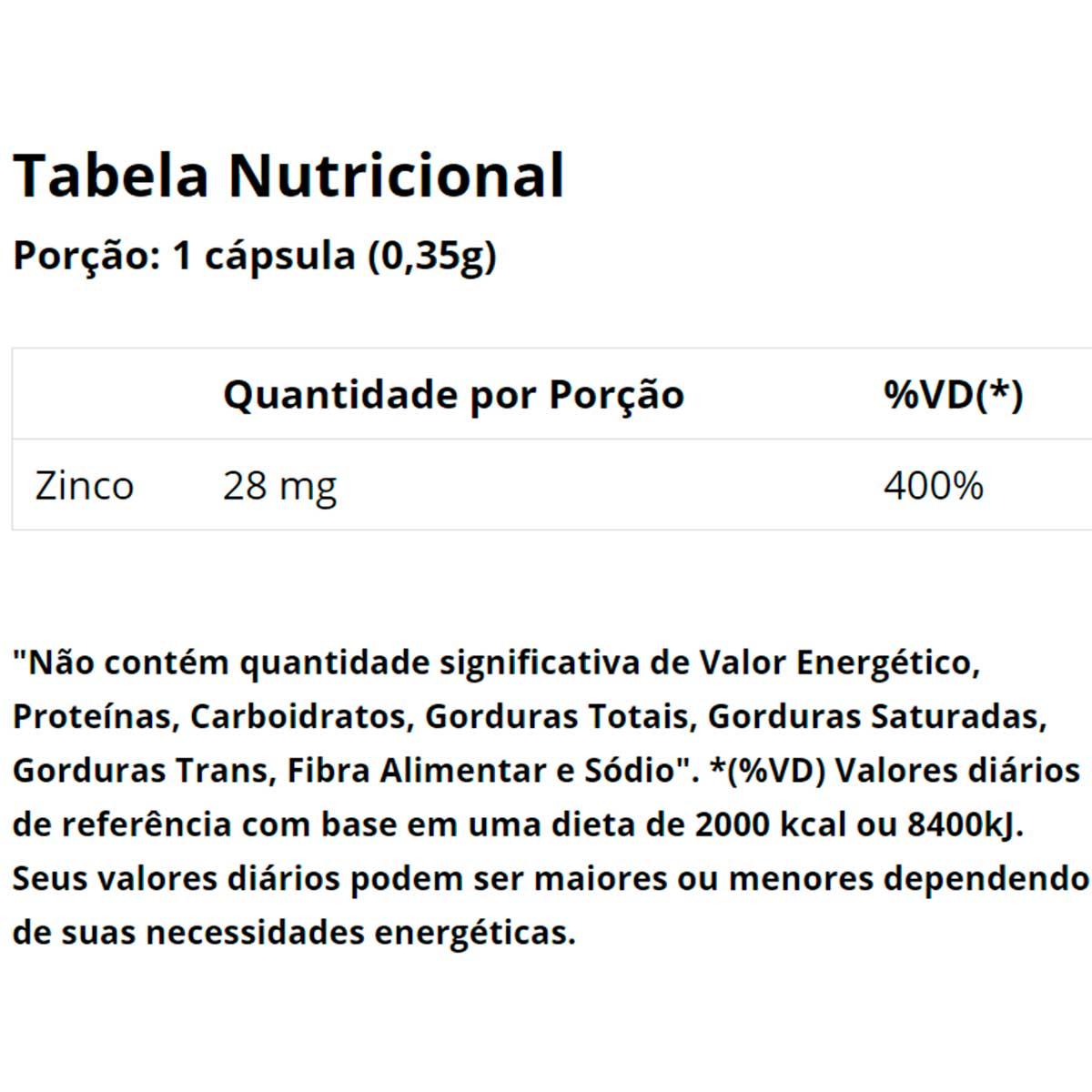Zinco Zinc Chelated 90 Cápsulas - Vitaminlife