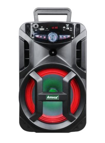 Caixa Amplificada Amvox Recarregável Bluetooth USB MicroSD Auxiliar Bivolt 188W ACA 188 GIGANTE